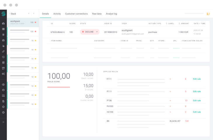 clean UX navigation from the Sense Platform Admin Panel