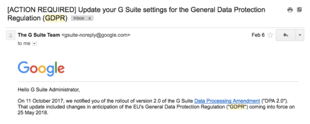 google warning about new DPA because of GDPR