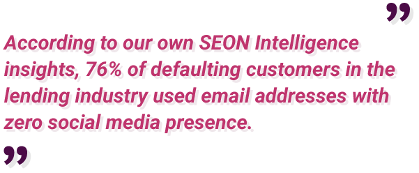 76% of defaulting customer in lending industry used email address with zero social media presence
