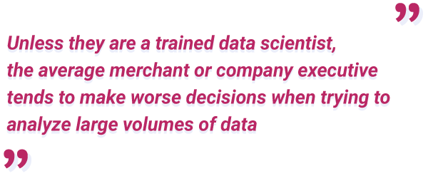 unless trained, people make worse decisions based on large data