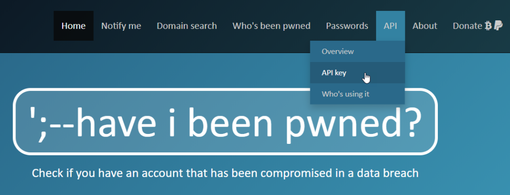 HaveIBeenPawned API fraud prevention