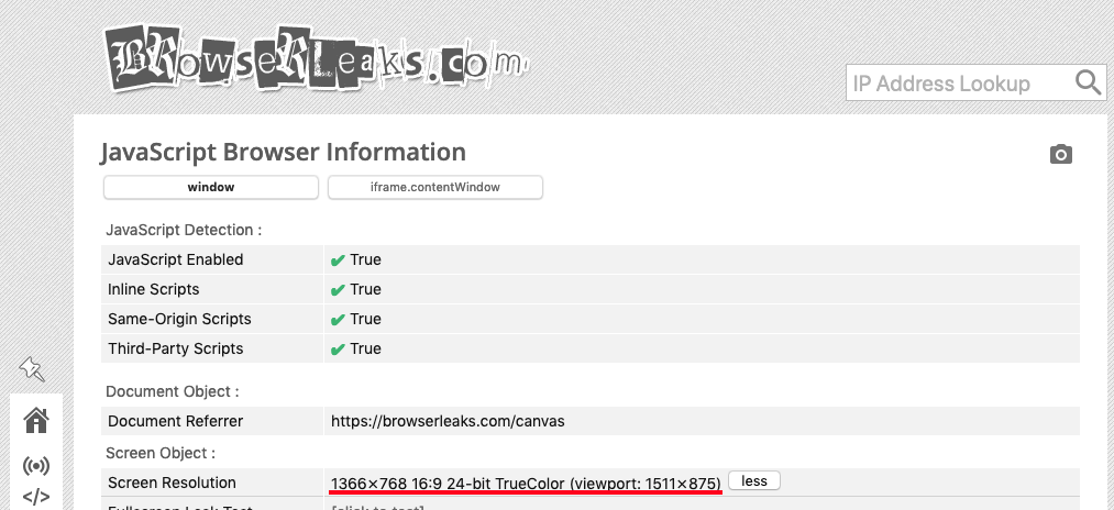 browserleaks.com javascript browser information - screen resolution