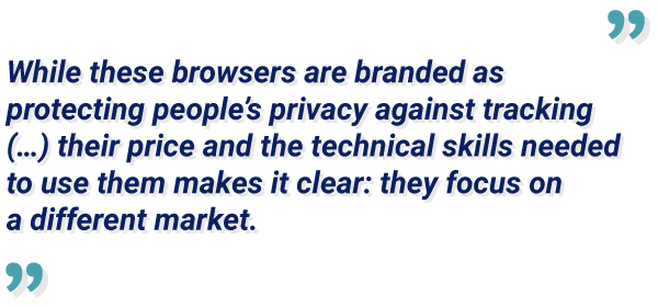 device spoofing quote detailing that browsers are branded and they are focusing on different markets