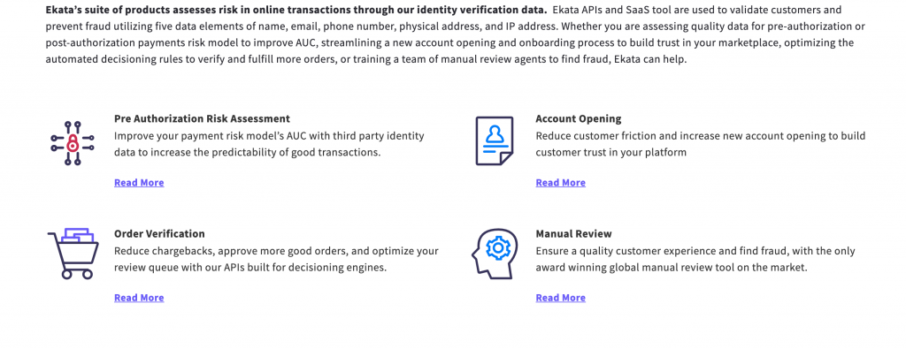 Screenshot of Ekata's website presenting the benefits of their services. Pre-authorization risk assessment, account opening, order verification and manual review.