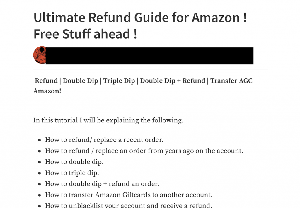 screenshot of an article detailing how to get extra refund from Amazon