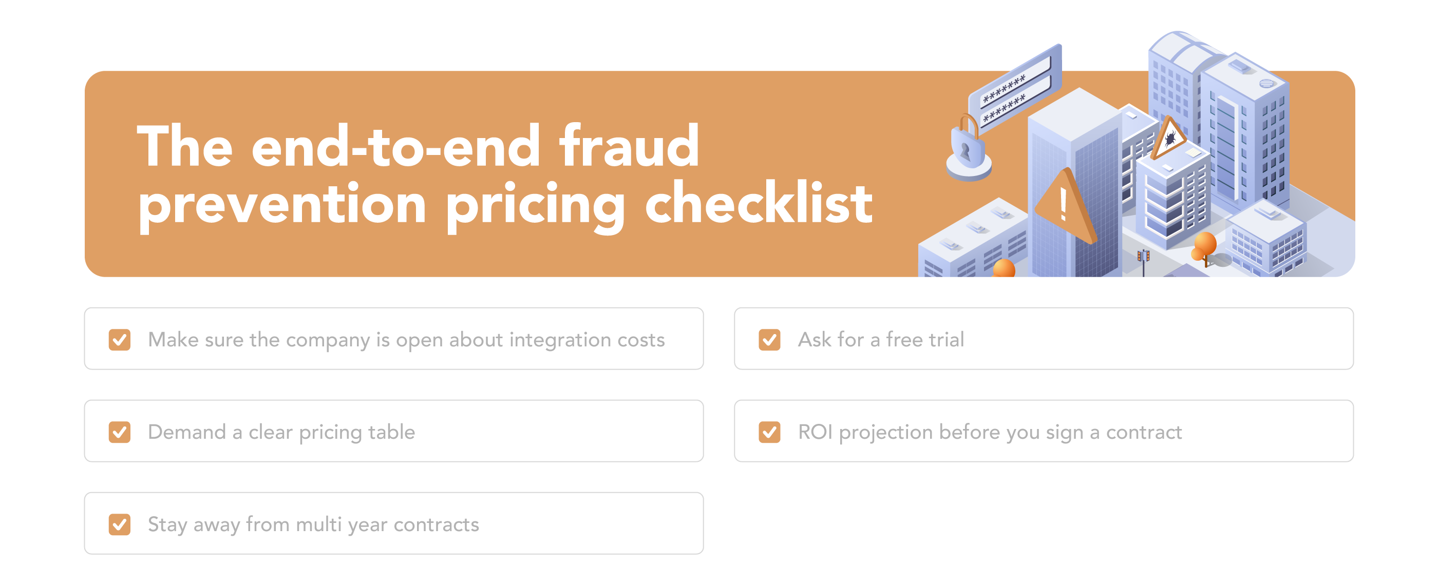 checklist for ensuring transparent enterprise fraud prevention pricing