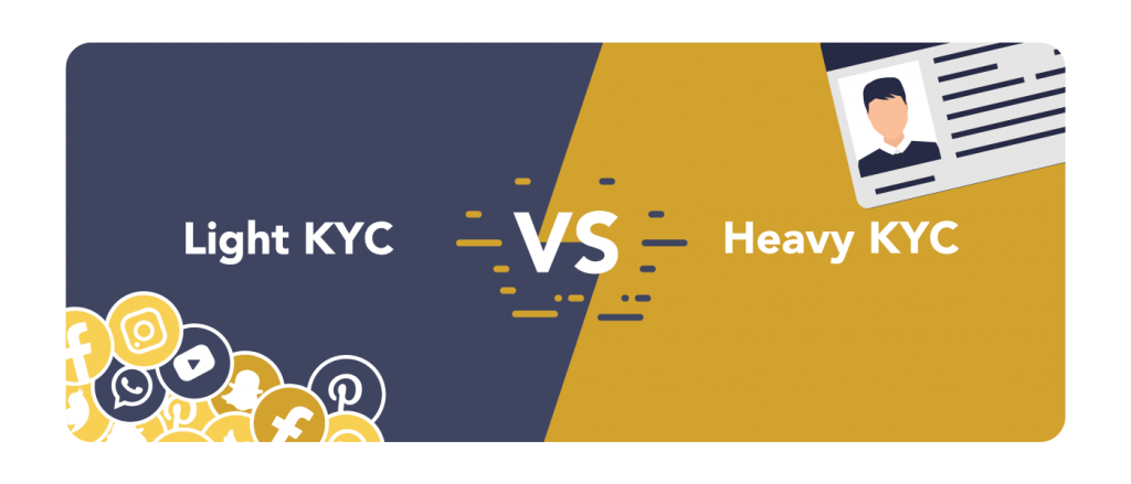 light and heavy kyc graphics. Light kyc are the social media and email information, heavy kyc are proofs the ID documents