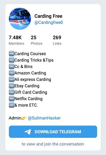 Screenshot of a Carding Account on Twitter