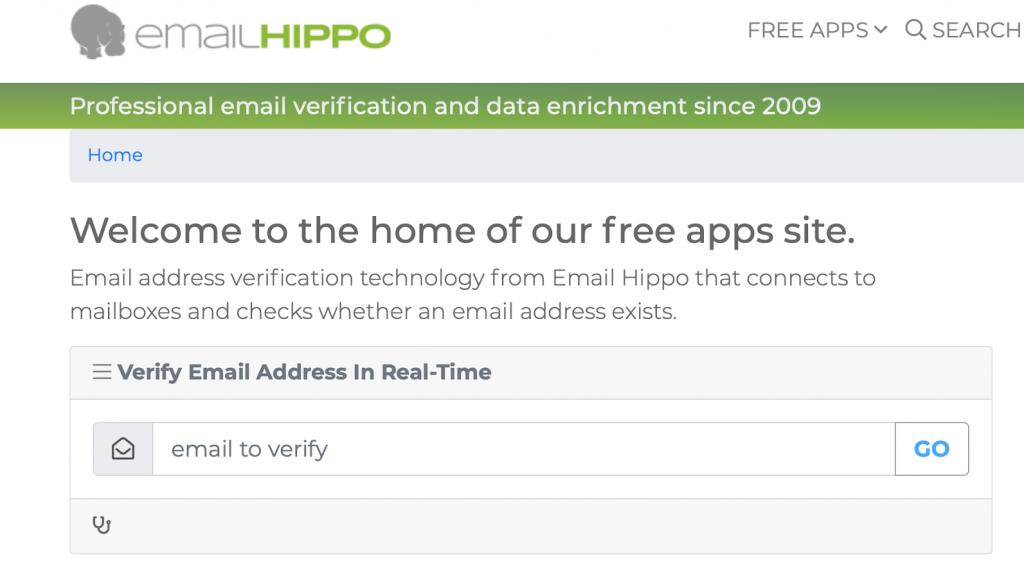 website screenshot of EmailHippo