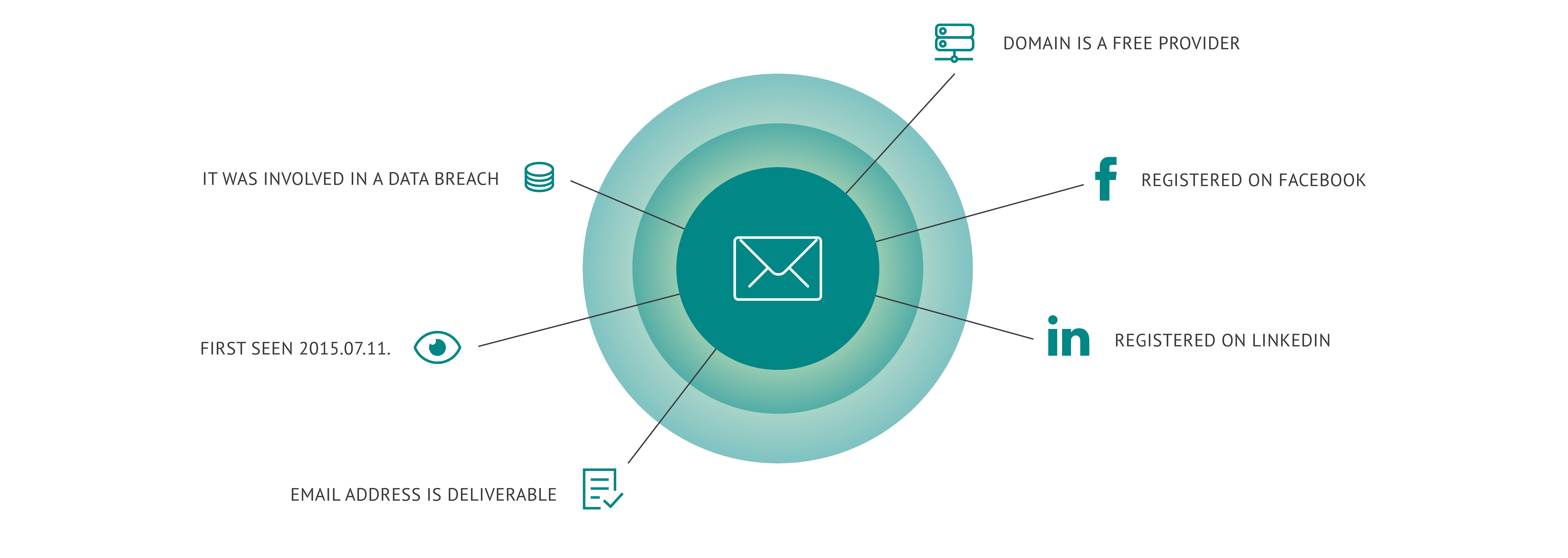 Data provided by data enrichment on a single email address